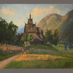 Hans Andreas Dahl (Norwegian, 1881-1919) Stave Church