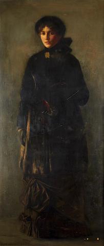 Christian Pieper (German, 1843-1934) Portrait of a lady in a black dress, possibly Helene Dahl