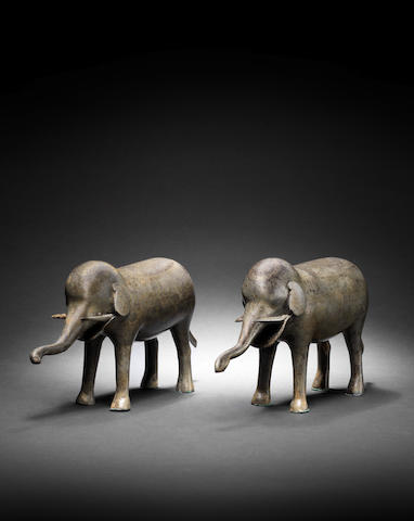 Two Qajar gold damascened steel Elephants Persia, 19th Century