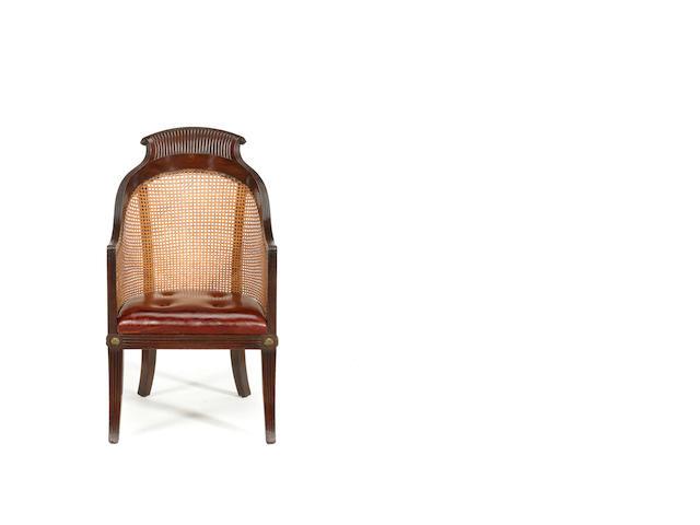 A Regency mahogany bergere