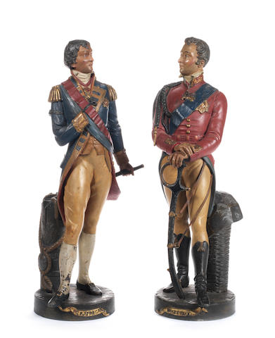 A pair of 19th century polychrome decorated Spelter figures of Napoleon and Wellington