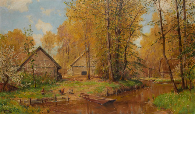 Walter Moras (German, 1856-1925) Cabins by a stream