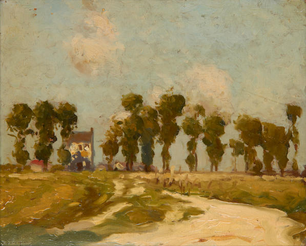 William Lee Hankey, RWS, RI, ROI, RE (British, 1869-1952) A country landscape with a house and trees in the distance