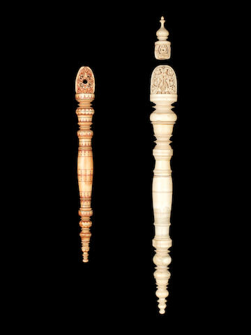 Two Singhalese turned ivory Fan Handles Sri Lanka, 19th Century(2)