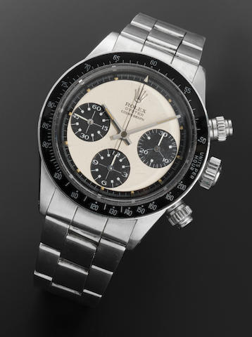 Rolex. A very fine and rare stainless steel manual wind chronograph bracelet watch'Paul Newman' Oyster Cosmograph Daytona, Ref:6263, Serial No.3048***, Circa 1971