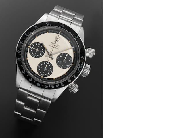 Rolex. A very fine and rare stainless steel manual wind chronograph bracelet watch 'Paul Newman' Oyster Cosmograph Daytona, Ref:6263, Serial No.3048***, 1970's (1971?)