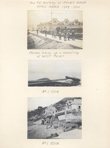 HONG KONG An album of approximately 155 images compiled by a (later) Major Fitzroy, Royal Artillery, recording service in Hong Kong, the typhoon of 1906 and visits to Peking