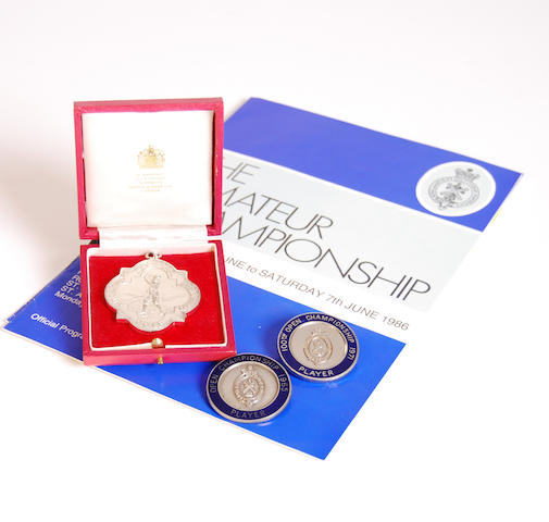 A 1965 Open Championship Player's blue and silver badge