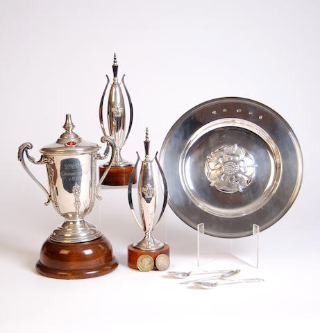 Lancashire Golfing Union: A selection of silver golf trophies won by S.G. Birtwell