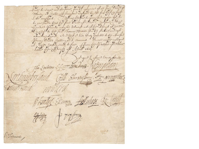 JAMES I'S PRIVY COUNCILand THE FUNERAL OF ELIZABETH I. Conclusion of a Privy Council warrant, directed to the Lord Treasurer, signed by fourteen members of James I's Privy Council, 1603