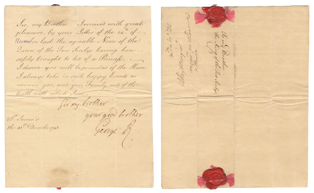 "GEORGE II. Letter signed (""George R"") and subscribed, to the King to the Two Sicilies, 1745"