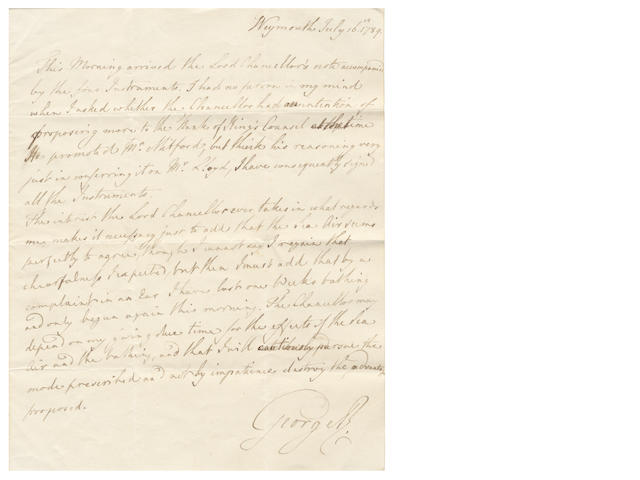"GEORGE III. Autograph letter signed (""George R""), to his Lord Chancellor (Lord Thurlow), giving news of his improved health, 1789"