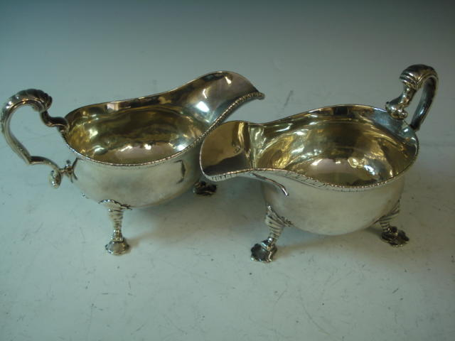 A George II pair of silver gravy boats by William Cripp, London 1754
