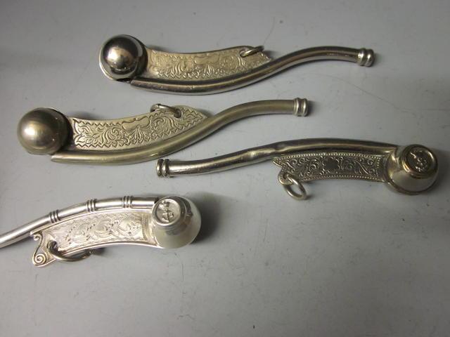 A mid Victorian silver bosun's whistle,  by George Unite,  Birmingham 1875,   (4)