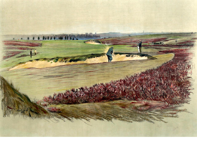 "After Cecil Aldin [1870-1935]: Famous Golf Links ""Walton Heath"""