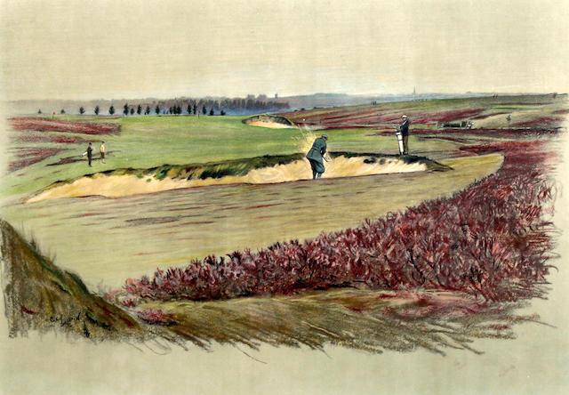 """After Cecil Aldin [1870-1935]: Famous Golf Links """"Walton Heath"""""""