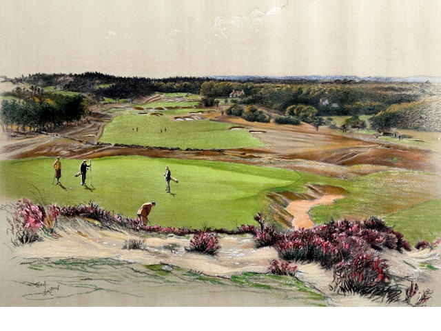 "After Cecil Aldin [1870-1935]: Famous Golf Links ""Sunningdale"