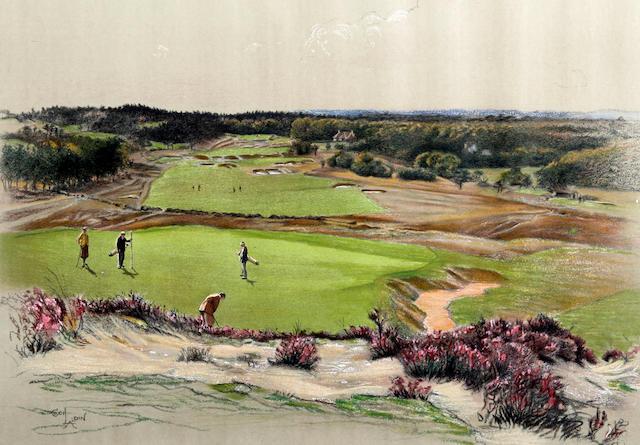 "After Cecil Aldin [1870-1935]: Famous Golf Links ""Sunningdale"