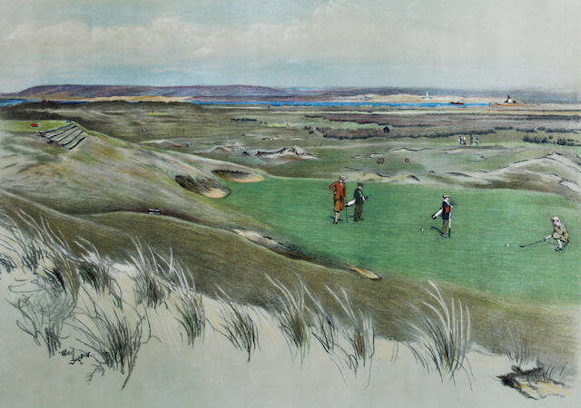 "After Cecil Aldin [1870-1935]: Famous Golf Links ""Westward Ho!"""