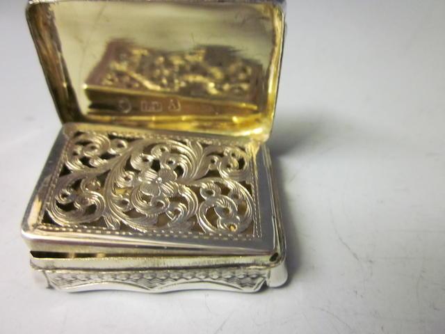 A silver Victorian vinaigrette, makers mark D.P. Birmingham 1849,