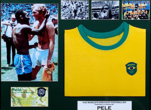 A Pele hand signed replica shirt montage