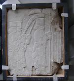 Four Quajar carved stone relief panels 4