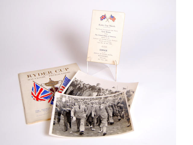 The 4th Ryder Cup Match 'Dinner' menu 27 June 1933