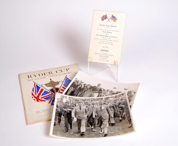 The 4th Ryder Cup Match 'Dinner' menu 27 June 1933