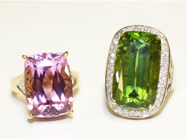A peridot and diamond cluster ring and a kunzite and diamond dress ring, (2)