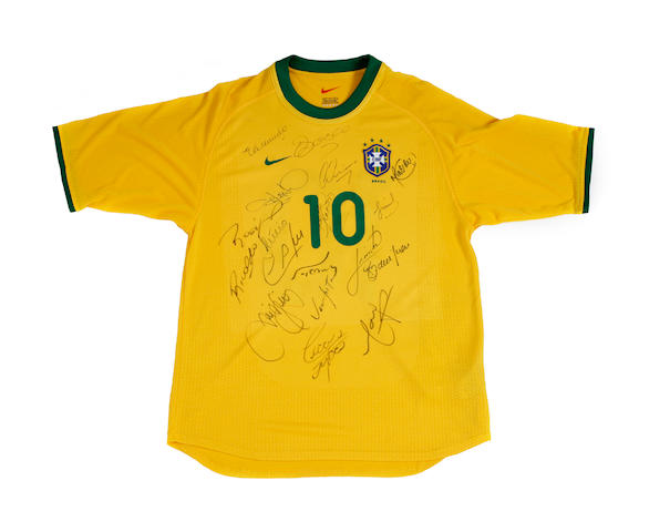 Brazil multi hand signed Rivaldo match worn shirt