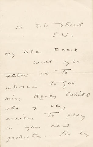 "WILDE (OSCAR) Autograph letter signed (""Oscar Wilde""), to ""My Dear Dacre"", introducing Miss Agnes Cahill, undated"
