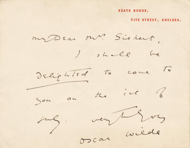 "WILDE (OSCAR) Autograph letter card signed (""Oscar Wilde""), to ""My Dear Mrs Sickert, [c.1880]"