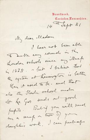 RUSKIN (JOHN) Autograph letter signed, 1881