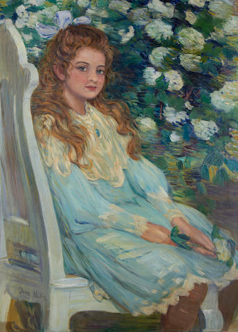 Dora Hitz (German, 1856-1924) Portrait of a girl, seated, wearing a blue dress
