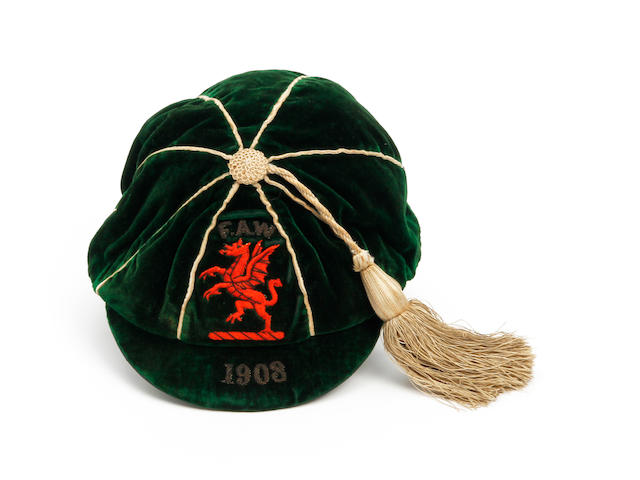 1908 Welsh international cap awarded to Billy Meredith