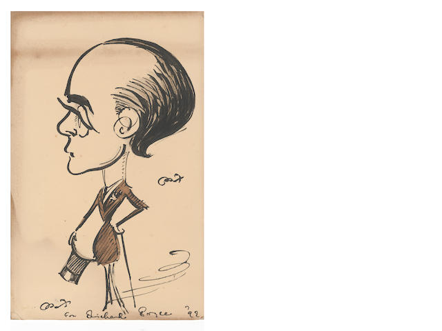 BEERBOHM (MAX) Autograph self-caricature, signed, 1899