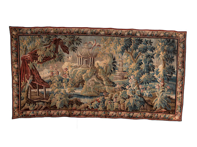 A Felletin early 18th century verdure tapestry, approx. 532cm by 268cm