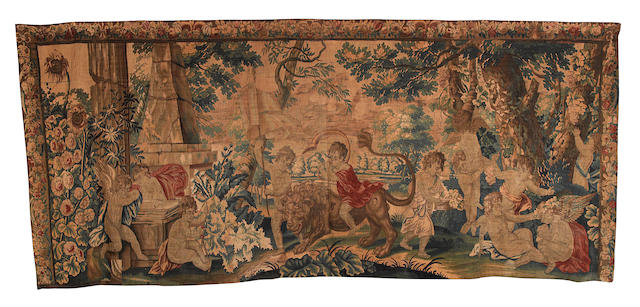 A Brussels early 18th century mythological tapestry, 476cm by 206cm lacking lower border