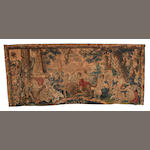 An early 18th century Brussels tapestry circa 1700, 476cm x 206cm lacking lower border