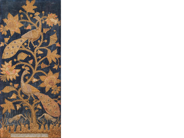 An Indian gilt embroidered panel