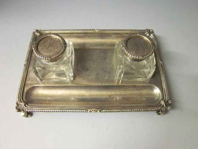 A silver inkstand, by C.S. Harris & Sons Ltd, London 1913,