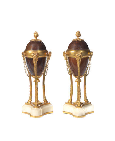 A pair of 19th century gilt and patinated bronze cassolettes