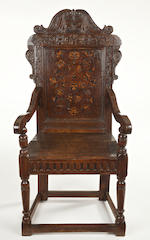 An unusually large James I/Charles I oak and marquetry panel-back armchair Leeds area, Yorkshire, circa 1620-40