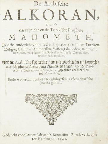 QU'RAN De Arabische Alkoran, door de Zarazijinsche en de Turcksche Prophete Mahometh, 1641