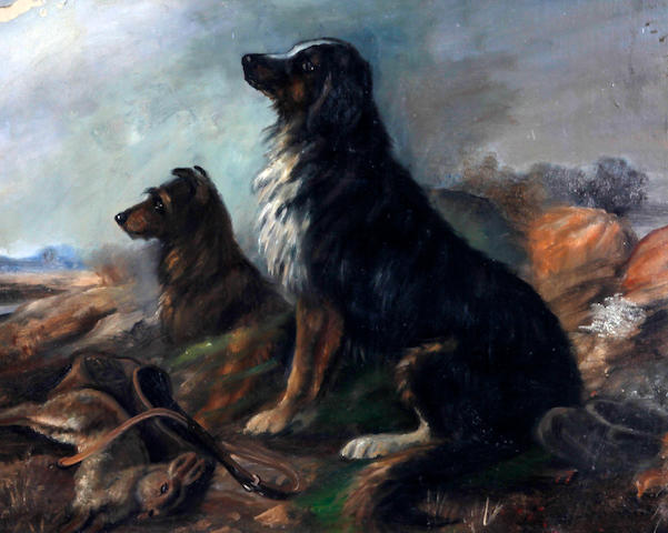 Follower of George Armfield (British, 1810-1893) A terrier and retriever seated with catch before a landscape