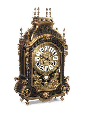 A large French late 19th century gilt bronze and Boulle marquetry mantel clock