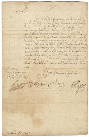 PEPYS (SAMUEL) Letter signed ('SPepys'), also signed by William Penn, father of the founder of Pennsylvania, 1668