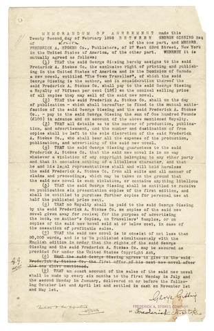 GISSING (GEORGE) and H.G. WELLS. Typed memorandum for the American edition of Gissing's Novel The Town Traveller
