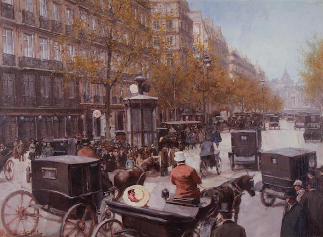 Leon Zeytline (French, 1885-1962) A busy boulevard