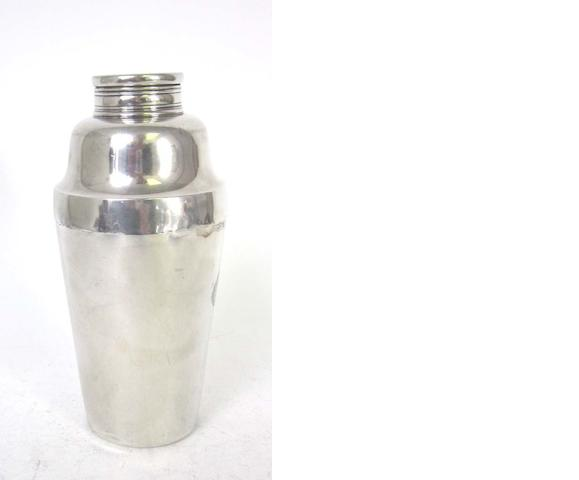 An American silver cocktail shaker, by Tiffany & Co, also impressed STERLING SILVER, patent and order numbers, 9727 and 9908, circa 1890